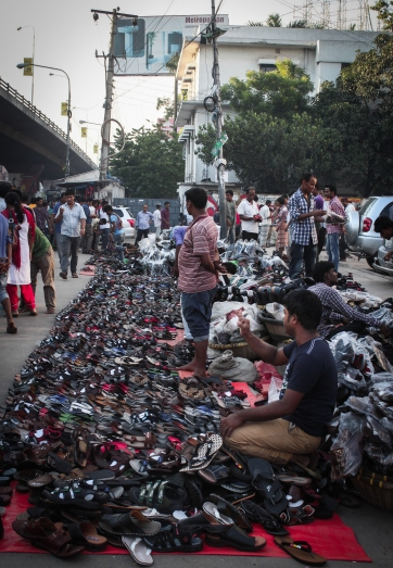 Array of women's shoes. But where are the ladies?